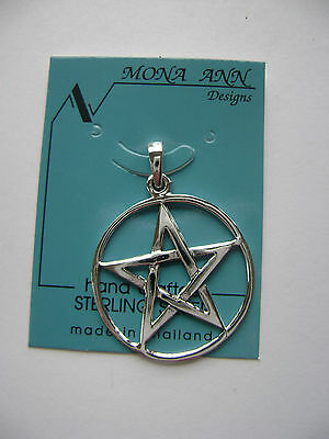 Sterling Silver Pentagram In Circle Pendant New