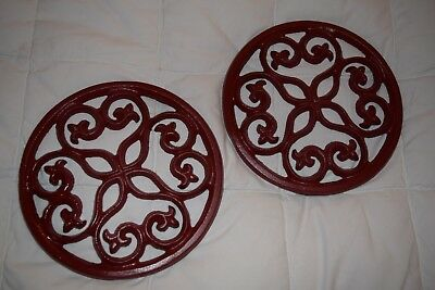 French Country Decor Red Cast Iron Metal Footed Trivets 2 Wall Art Fleur De Lis