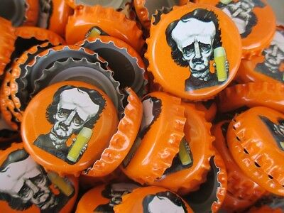 100 ((( Orange ))) Raven Brewing Beer Bottle Caps (No Dents). Free Shipping