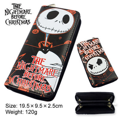 US SHIP The Nightmare Before Christmas Jack Skull Cosplay Zipper Wallet Purse