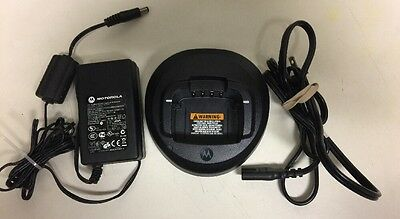 Genuine Motorola Radio Charger PMLN5228A & Power Supply for CP185 CP1300 CP1600