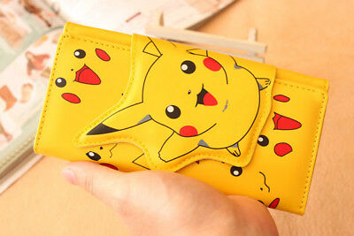 US SHIP Anime Pokemon Go Pikachu Yellow Long Wallet Cosplay Bag Fold Purse Gift