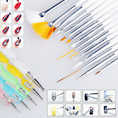 20pc Nail Art Manicure Pedicure Beauty Painting Polish Brush Dotting Tool Set