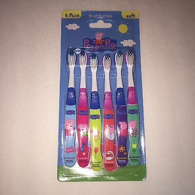 NEW Peppa Pig Toothbrushes 6 Pack Kids Soft Brush Buddies George Daddy Mummy+