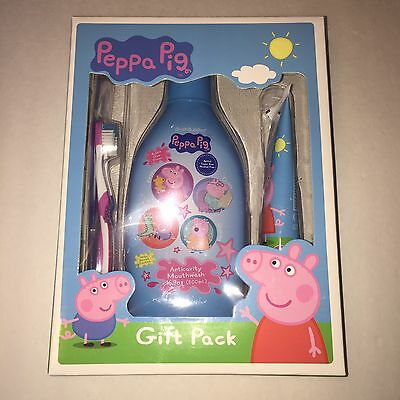 NEW Peppa Pig Brush Buddies Gift Pack Toothbrushes Toothpaste Mouthwash Dental