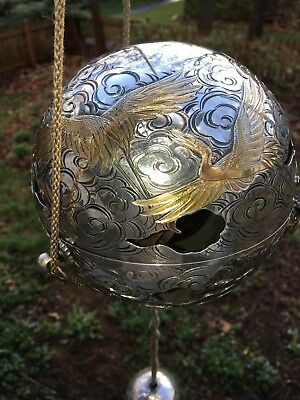 Large, Late Meiji, Pure Silver Hanging Incense Burner