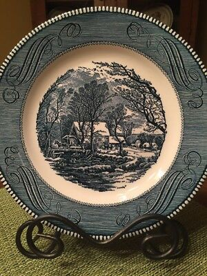 "Dinner Plate Vintage Currier And Ives Royal China Old Grist Mill 10"" Blue White"