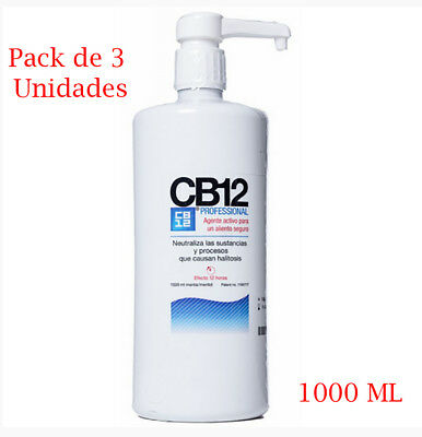 Pack de 3 x Colutorio CB12 de 1000 ml enjuague bucal mal aliento salud dental