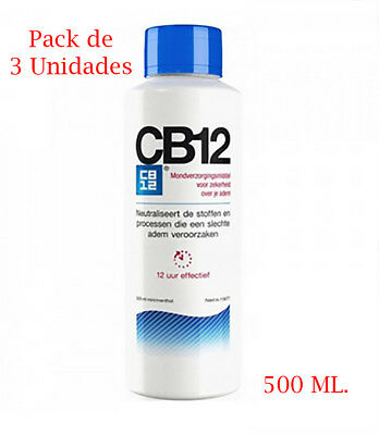 Pack de 3 x Colutorio CB12 de 500 ml enjuague bucal mal aliento salud dental