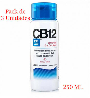 Pack de 3 x Colutorio CB12 de 250 ml enjuague bucal mal aliento salud dental