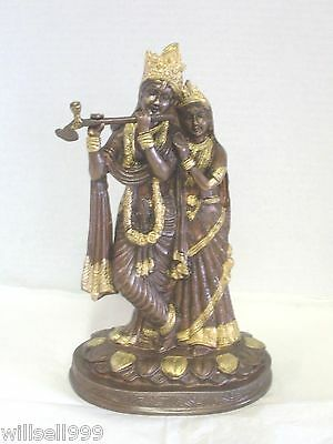 "Krishna and Radha Statue - 10.50 "" -  2 Tone Brass"