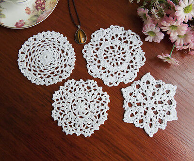 Cotton Hand Crochet Lace Doily Doilies Placemat Round 11CM White in 4 Patterns B