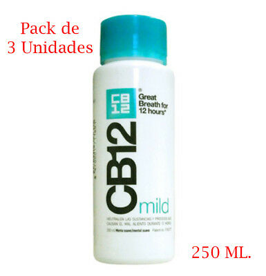 Pack de 3 x Colutorio CB12 mild de 250 ml enjuague bucal menta suave mal aliento