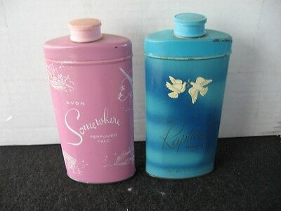 LOT OF 2 VINTAGE AVON PERFUMED TALCUM POWDER TINS ,Dusting powder