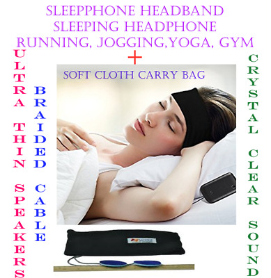 Sleep Phones Headband Sleep Headphones With UltraThin Speakers and Braided Cable