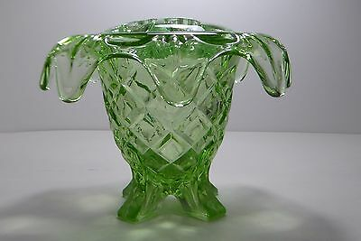 Charming Sowerby Glass Art Deco Vase with Frog Holder Green Glass No T2583