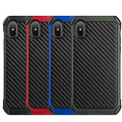 for iPhone X / XS - Carbon Fiber Hybrid Rugged Hard Armor Shockproof Case Cover