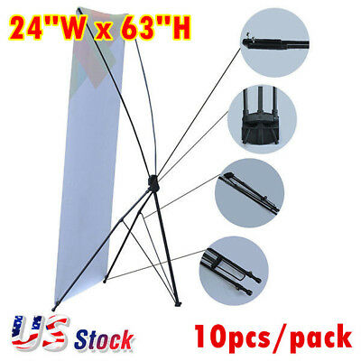 "US, 10pcs 24""W x 63""H Economy Aluminum Foot Tripod X Banner Stand (Stand Only)"