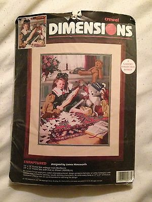 Enraptured Dimensions Crewel Embroidery Kit, Girl Teddy Bears Reading 1995 #1473