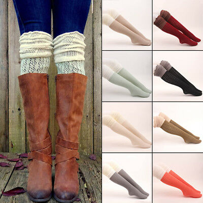 Women Girls Boot Cuffs Knit Toppers Over The Knee Stocking Socks Leg Warmers TP
