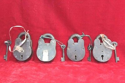 4 Pc Old Home Safety Antique Iron Brass Lock and Keys Collectible PW-83