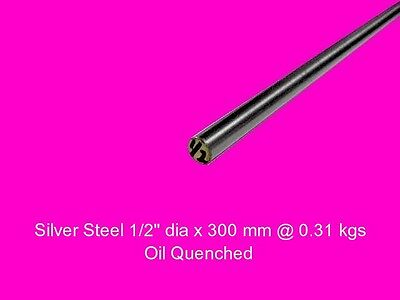 "Silver Steel 1/2"" dia x 300 mm ( Water W1 ) -Tools-Lengths-Lathe-Mill-Steam"