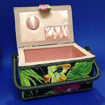 As new, Unused - Craft Sewing Box - Vibrant Padded Fabric Exterior, Satin Lined