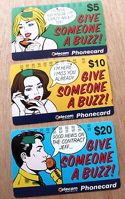 Telecom Phonecard 1995  $5, $10 & $20 GIVE SOMEONE A BUZZ! - USED- 2 holes each