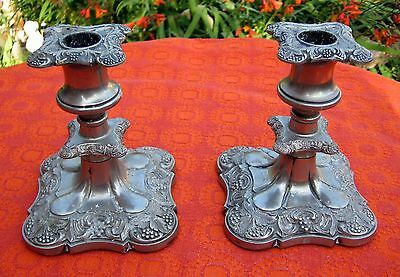 Vintage English Silver Plated Shabbat Candlesticks