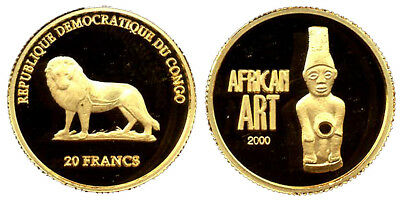 Congo, 20 Francs 2000, African Art, Gold