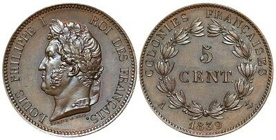 France Colonies, 5 Cents 1839 A (Paris), for use in Guadalupe