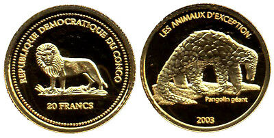 Congo, 20 Francs 2003, Giant Anteater, Gold