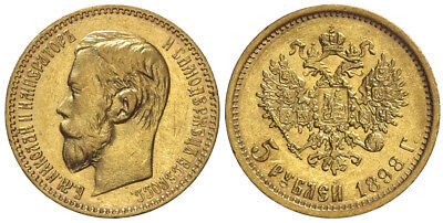 Russia, Nicholas II, 5 Roubles 1898, Gold, 008