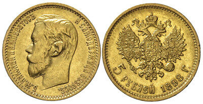 Russia, Nicholas II, 5 Roubles 1898, Gold, 006