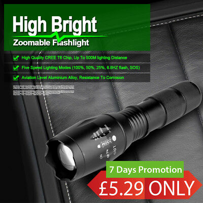 8000LM CREE T6 LED Police Zoomable Flashlight Waterproof Torch Light Lamp Kit