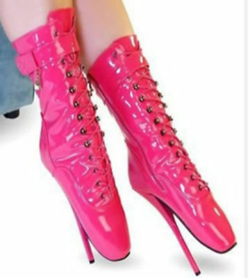 PINK PVC Ankle High Ballet Boots, high heals, Pony boots, sexy boot, corset