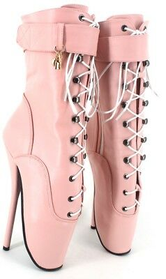 Pink LETHER Ankle High Ballet Boots, high heals, Pony boots, sexy boot, corset