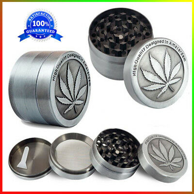 4 Piece Grinder Herb Tobacco Spice Crusher 2 Inch Zinc Alloy Smoke Silver