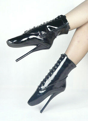 BLACK PVC Ankle High Ballet Boots, high heals, Pony boots, sexy boot, corset