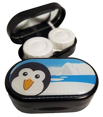 Cute Animals Mirror Case - Contact Lens Soaking Storage Case UK MADE - Penguin