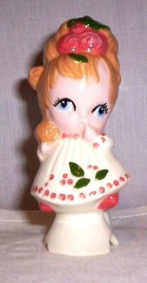 Doll #591 2012.2  Ceramic Shy Girl with Finger in Mouth Pie Bird
