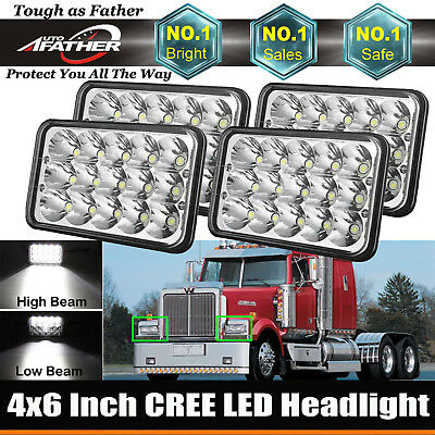 4Pcs 4/'/'x6/'/' LED Truck Headlight For 1988-2007 Freightliner FLD120 FLD112 Bright