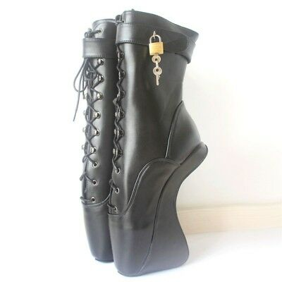 BLACK LOCKING LEATHER Ankle High PONY Ballet Boots, high heals, sexy boot,corset