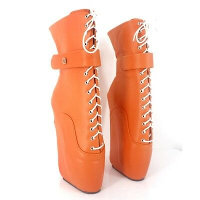 ORANGE LOCKING LEATHER Ankle High PONY Ballet Boots, high heals,sexy boot,corset