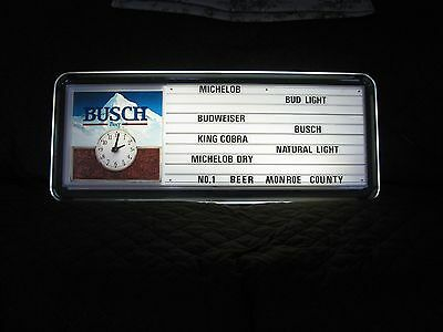 Anheuser Busch Lighted Light Clock Menu Beer Bar Sign Monroe County Texas Bud