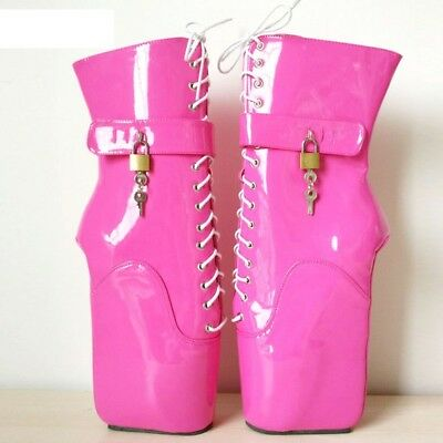 PINK LOCKING PVC Ankle High PONY Ballet Boots, high heals,sexy boot,corset