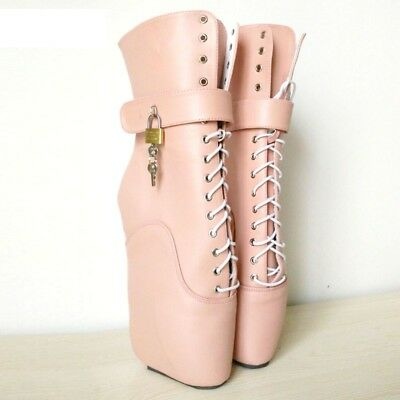 PINK LOCKING LETHER Ankle High PONY Ballet Boots, high heals, sexy boot, corset