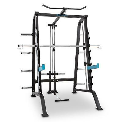Capital Sports Multifunctional Gym Home Power Squat Rack Steel Black Barbell New