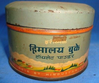 Old Vintage Tin Powder Box from India 1950  Very Rare