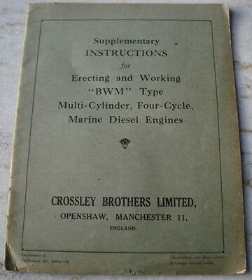 Old Vintage Supplementary Instructions from Marine Diesel Engines from England